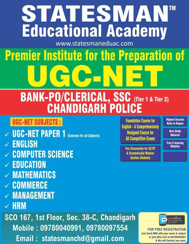 Statesman Academy – Ugc Net English, Computer Life Sciecne Coaching In Chandigarh in chandigarh