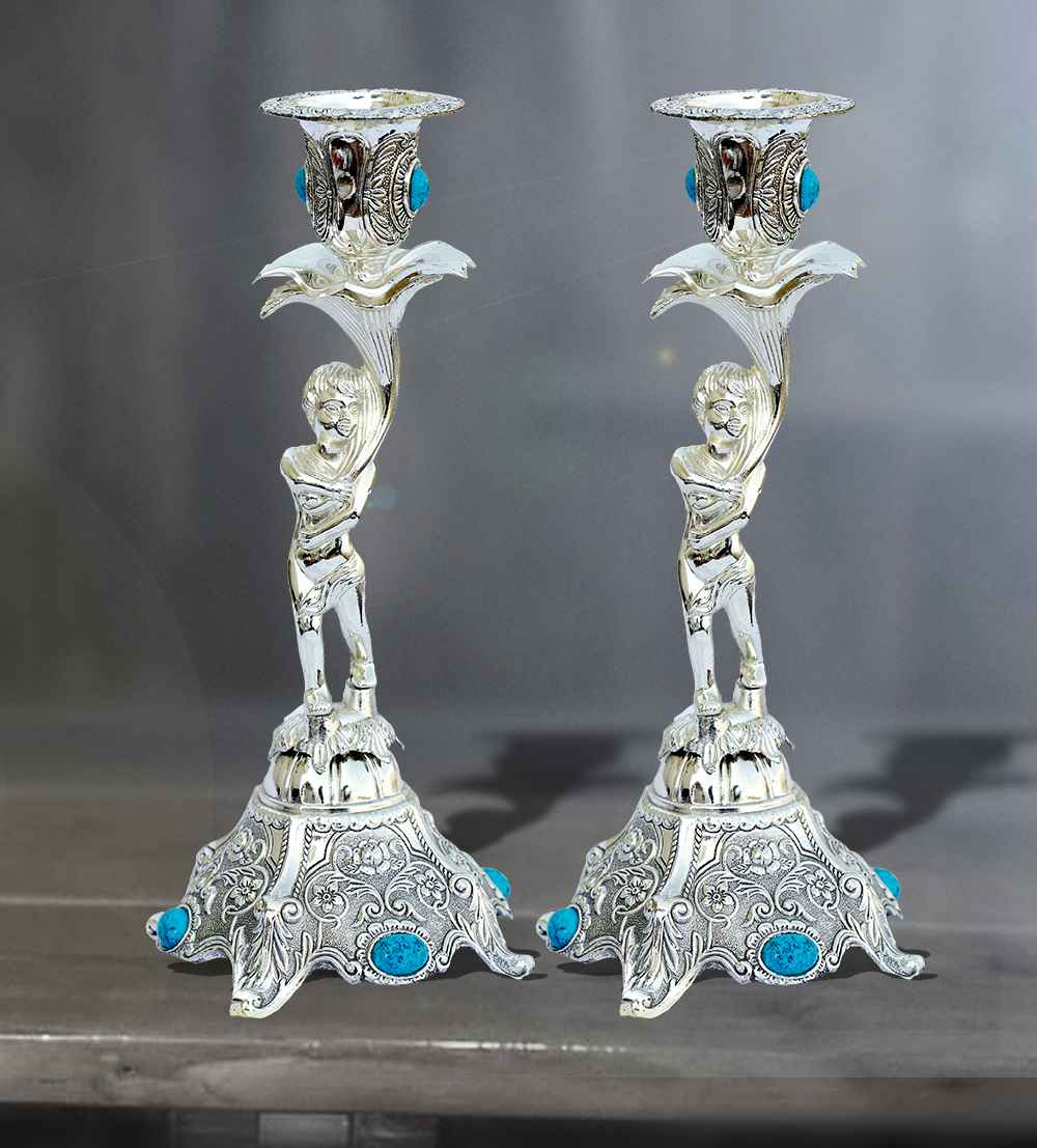 candle stand lady pair