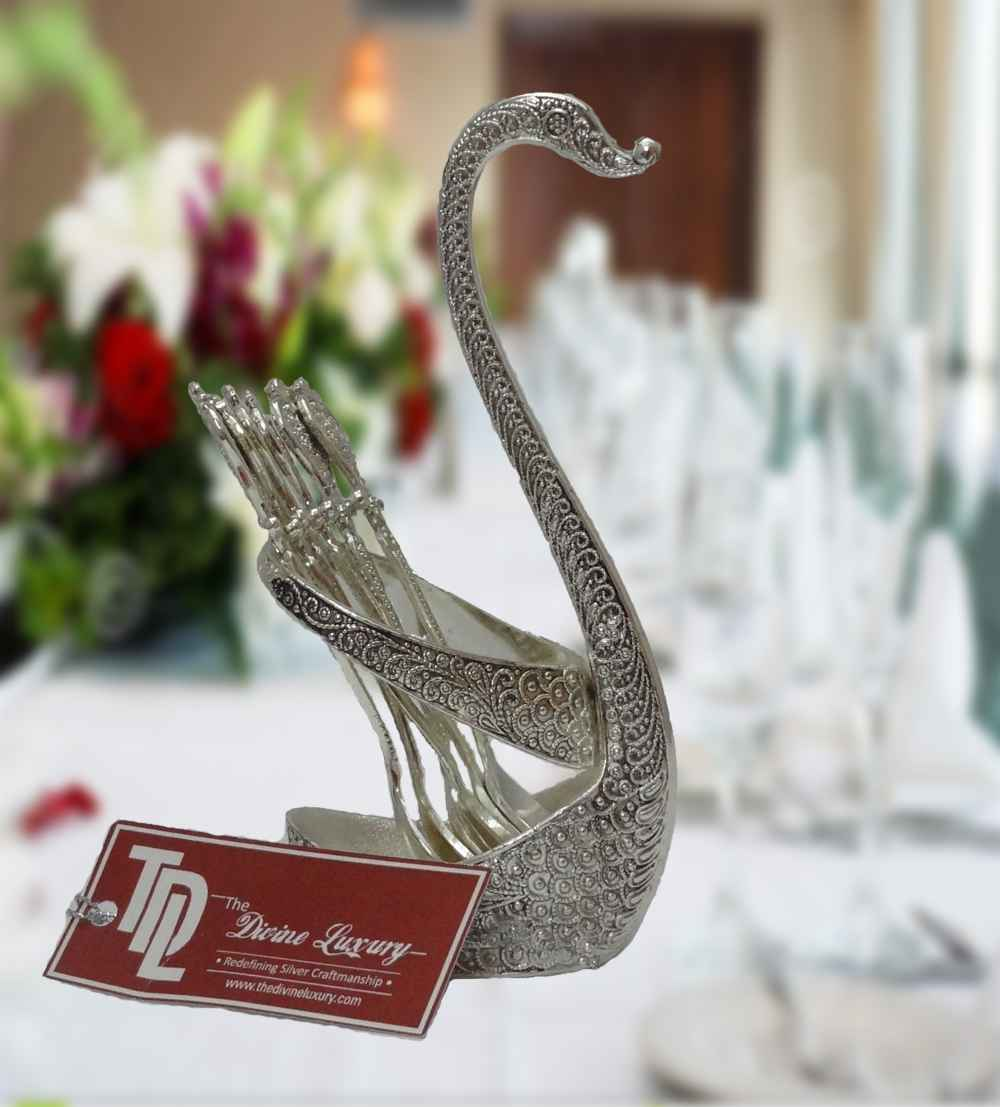 india filigree swan with six spoons