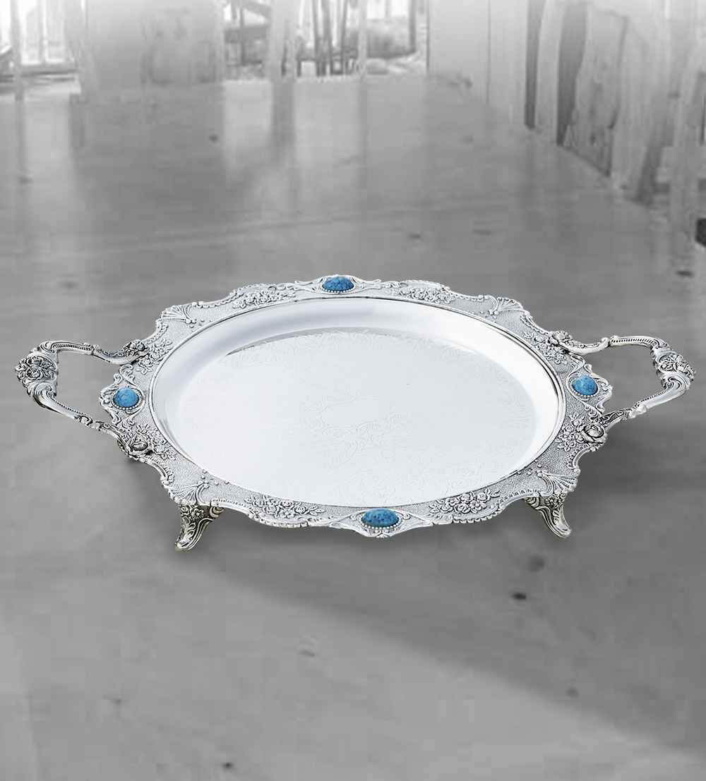 india tray round with turquoise-stones