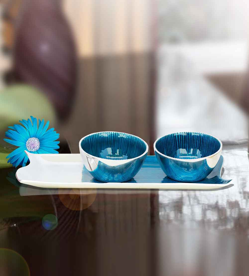 gifts half n half tray with two bowls (blue)